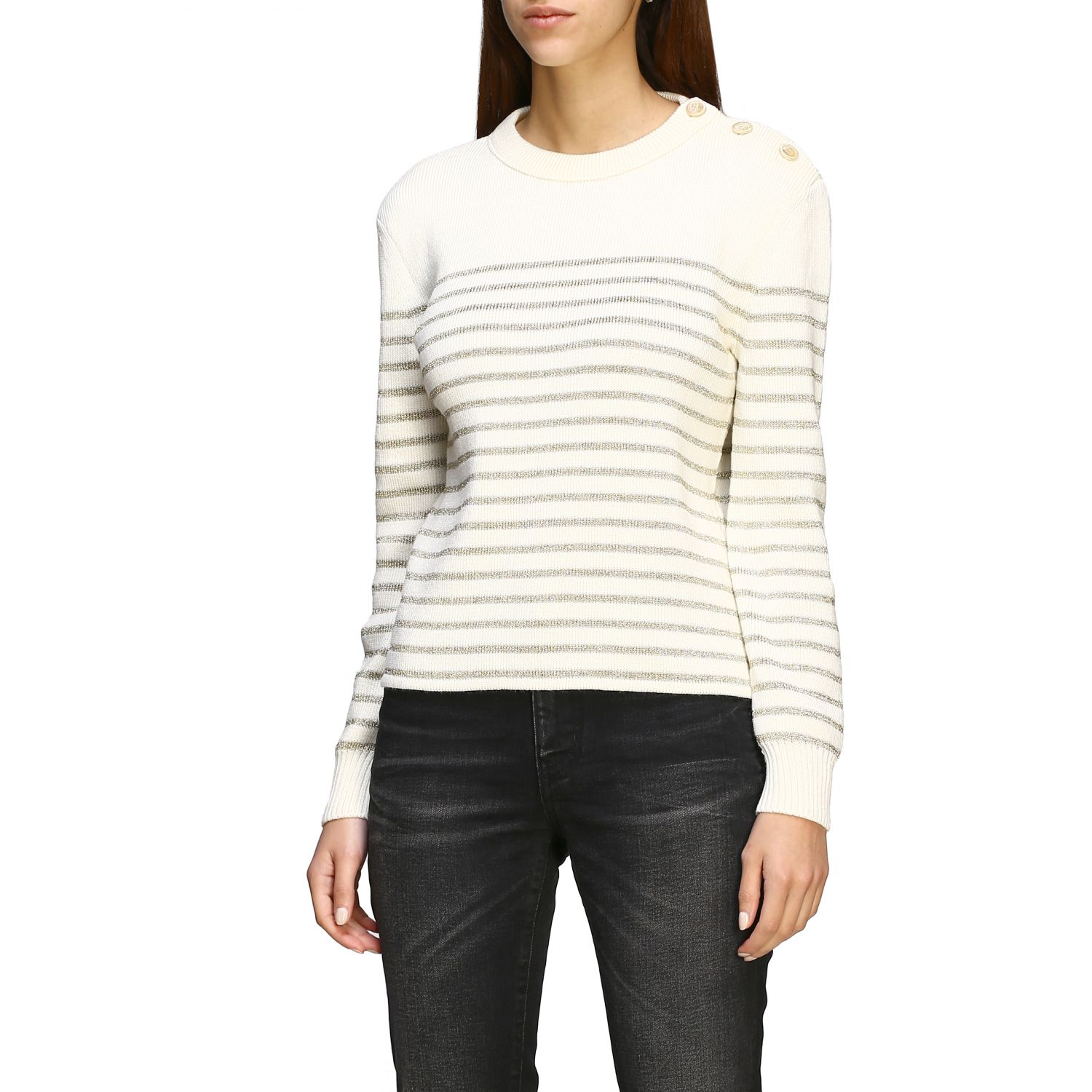 Saint Laurent lurex striped pullover with jewel buttons white 4