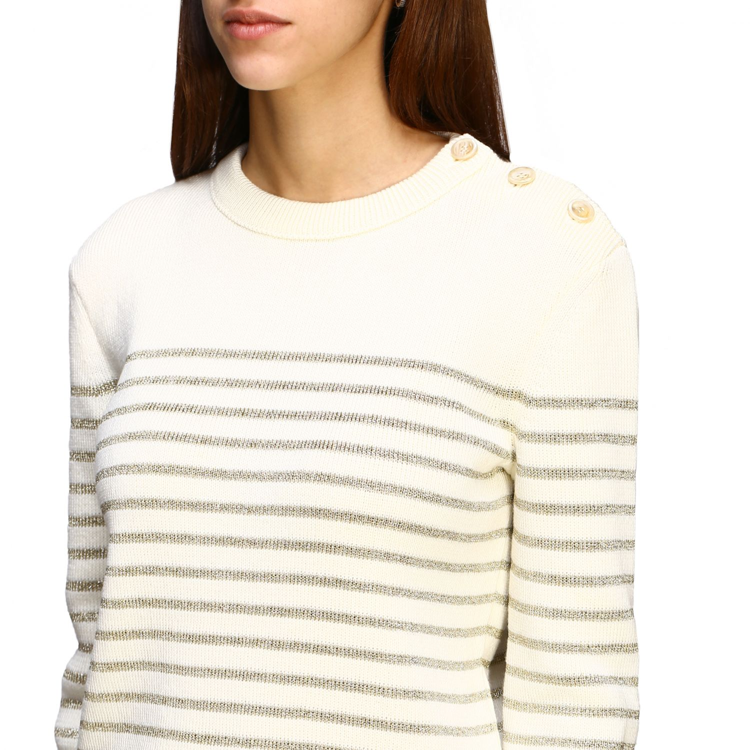 Saint Laurent lurex striped pullover with jewel buttons white 5