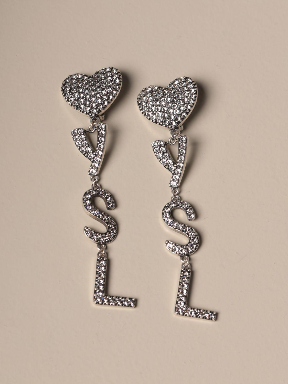 Joya Saint Laurent: Pendientes Saint Laurent con corazón de diamantes de imitación y logo plata 1