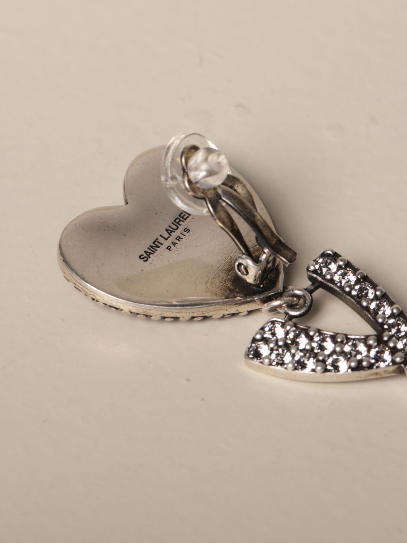 Joya Saint Laurent: Pendientes Saint Laurent con corazón de diamantes de imitación y logo plata 2