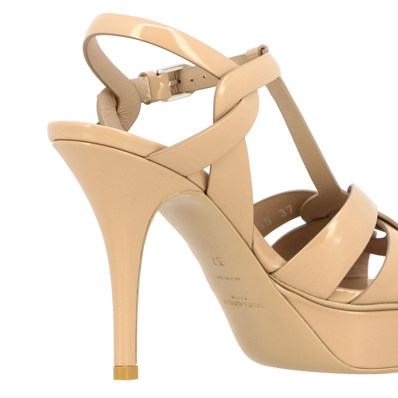 Sandales en cuir verni Tribute Saint Laurent beige 5