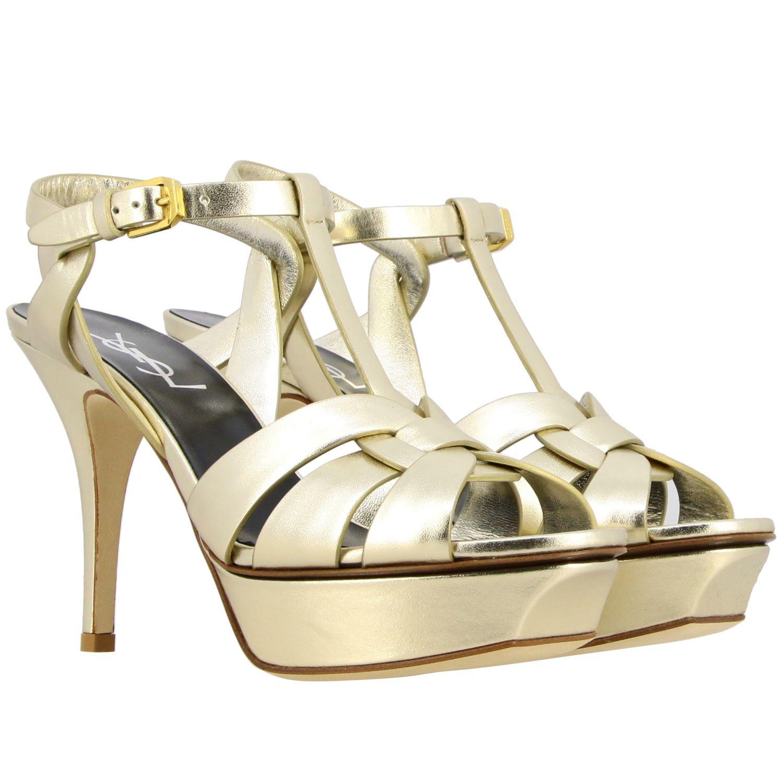 Shoes women Saint Laurent gold 2