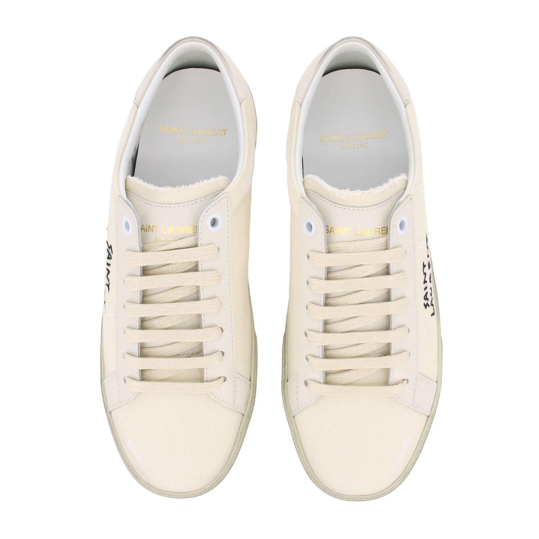 Saint Laurent Canvas Sneaker mit gesticktem Logo weiß 3