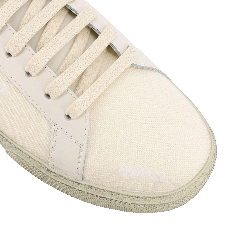 Saint Laurent Canvas Sneaker mit gesticktem Logo weiß 4