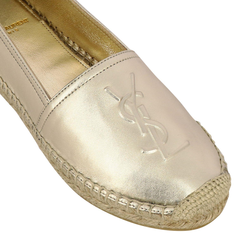 Эспадрильи Saint Laurent из ламинированной кожи с логотипом золотой 4