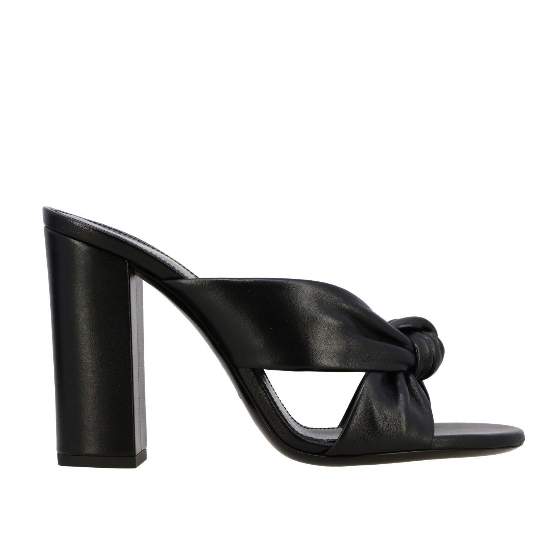 Sandales à talons Saint Laurent: Sandales Loulou Saint Laurent en cuir avec nœud noir 1