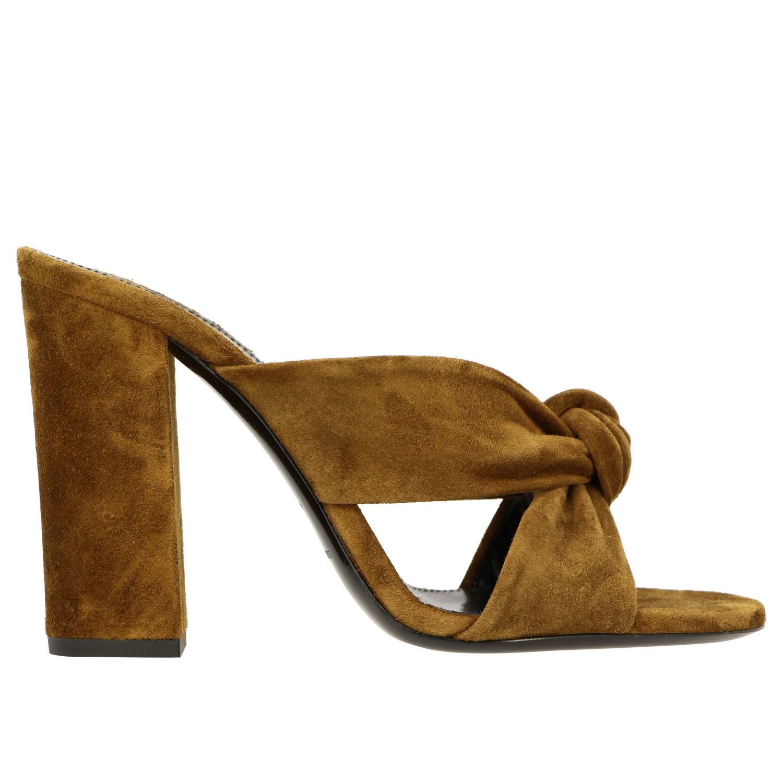 Sandales à talons Saint Laurent: Sandales Loulou Saint Laurent en daim avec nœud brun 1