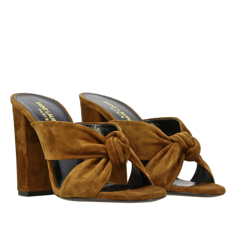 Sandales à talons Saint Laurent: Sandales Loulou Saint Laurent en daim avec nœud brun 2