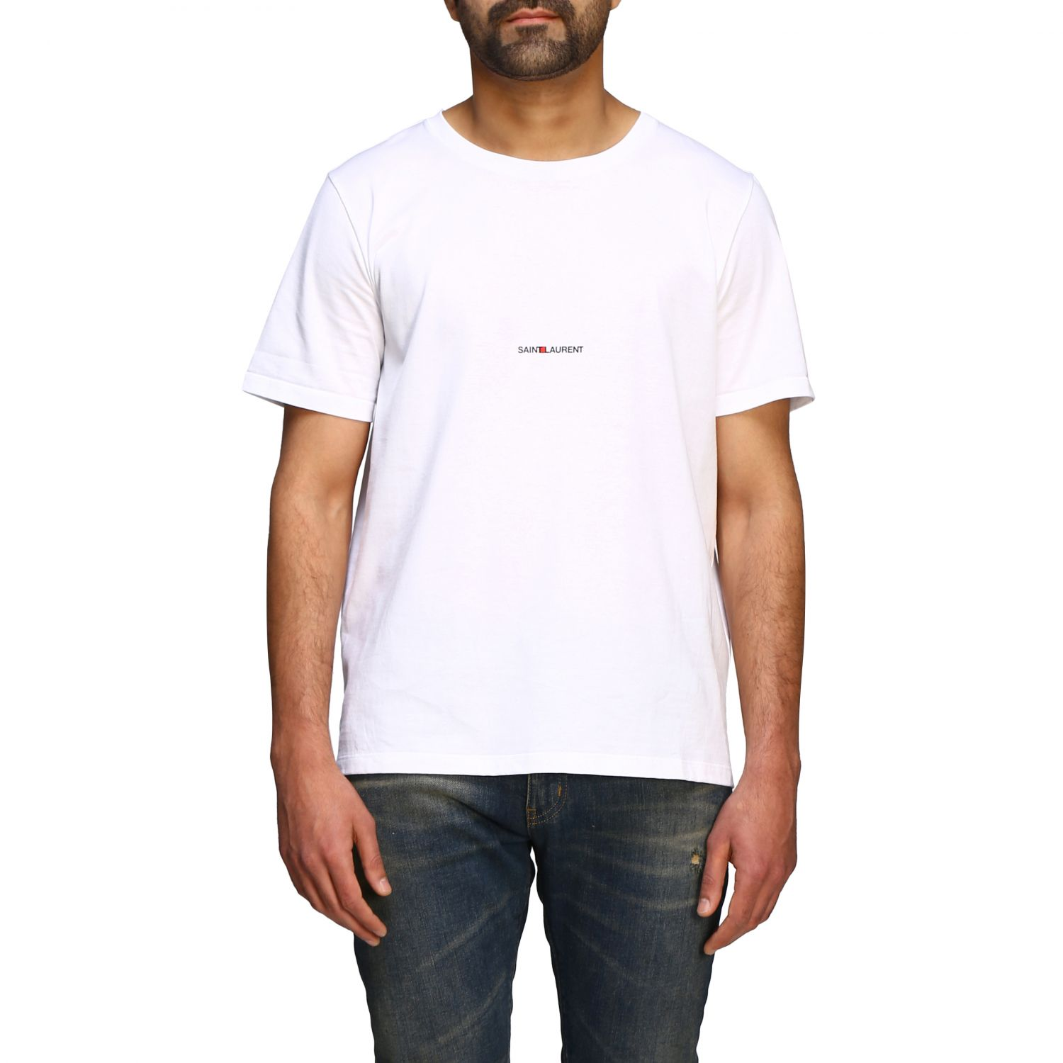 Saint Laurent T-Shirt mit Mini Logo weiß 1