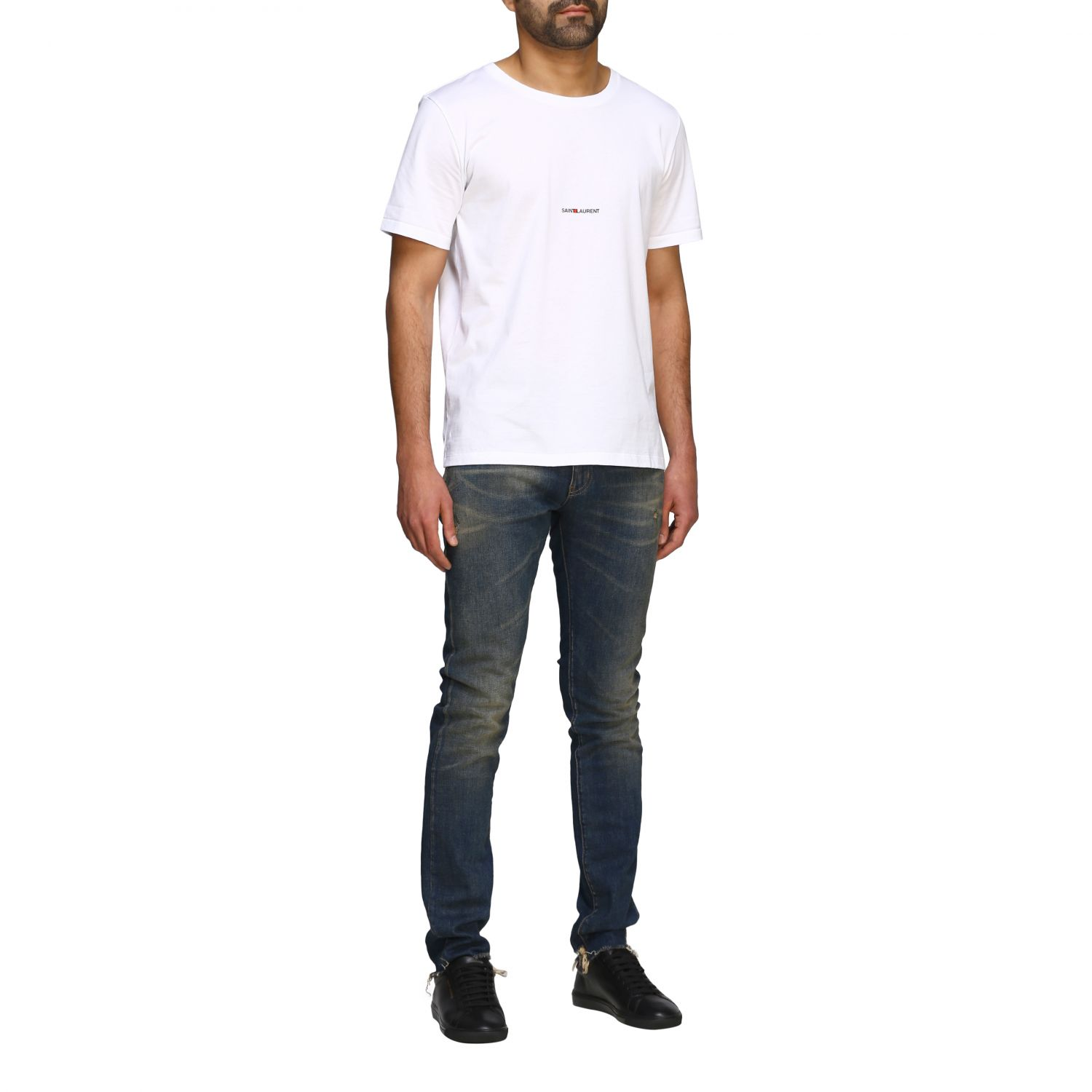 Saint Laurent T-Shirt mit Mini Logo weiß 2