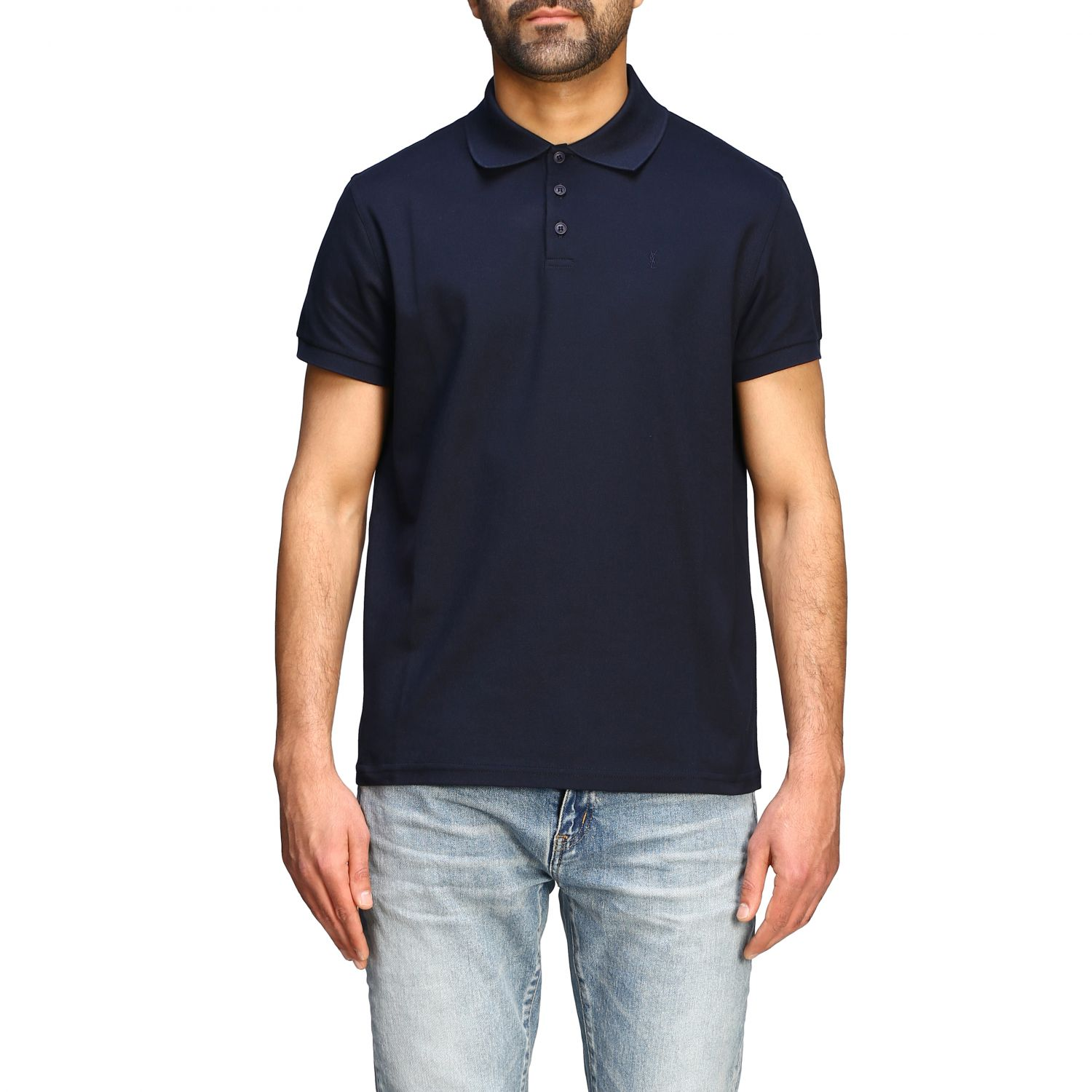 Polo Sport Saint Laurent a maniche corte con mini monogramma blue 1