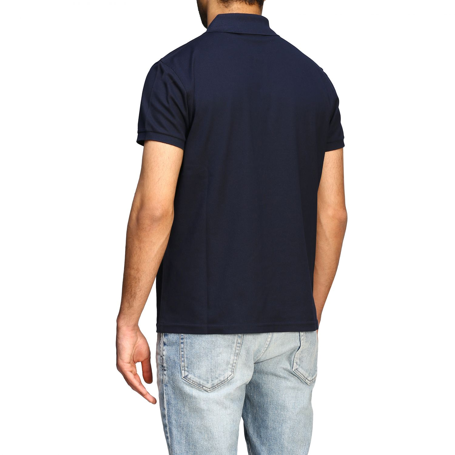 Polo Sport Saint Laurent a maniche corte con mini monogramma blue 3