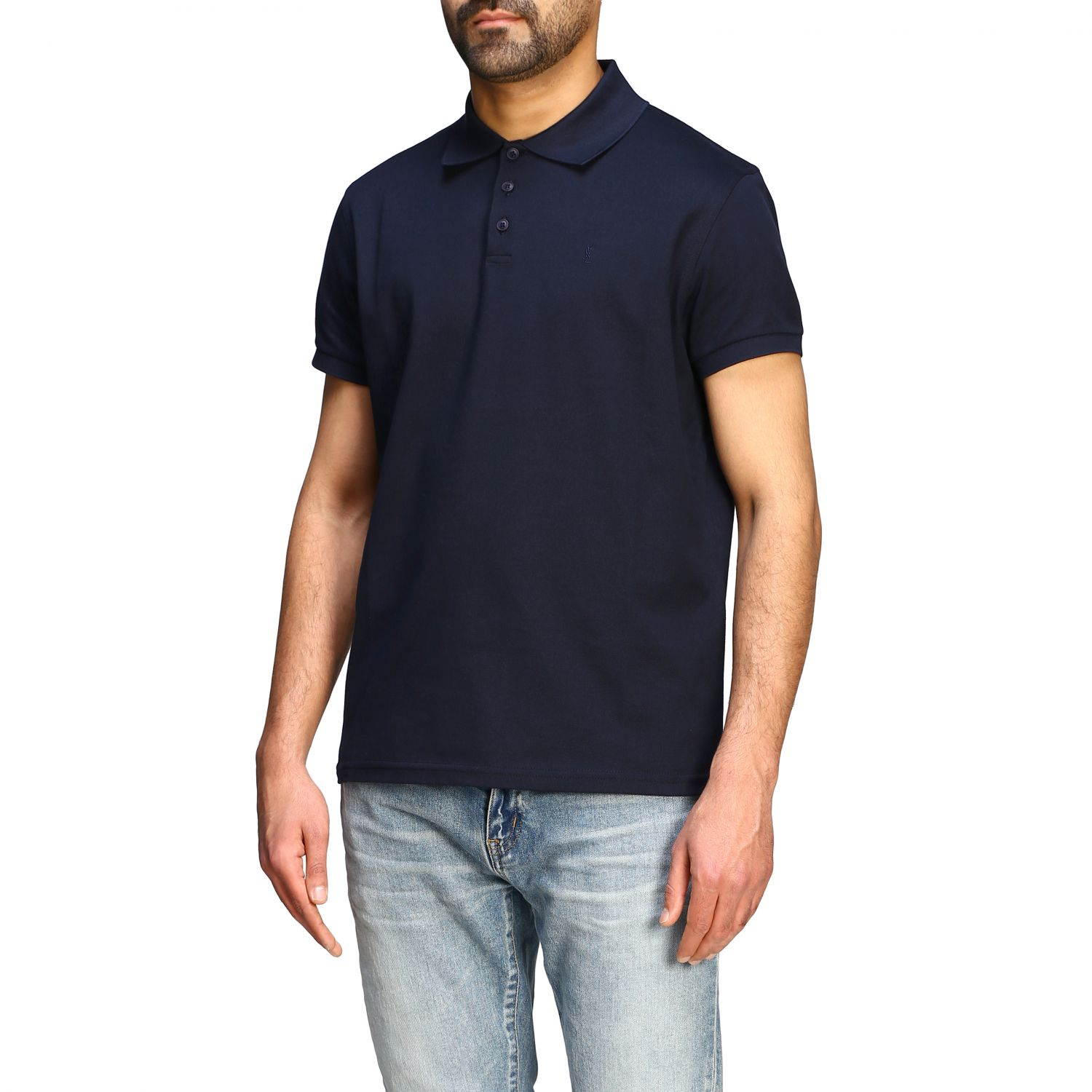 Polo Sport Saint Laurent a maniche corte con mini monogramma blue 4