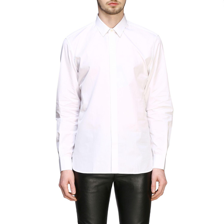 Chemise basique en popeline Saint Laurent à col italien blanc 1