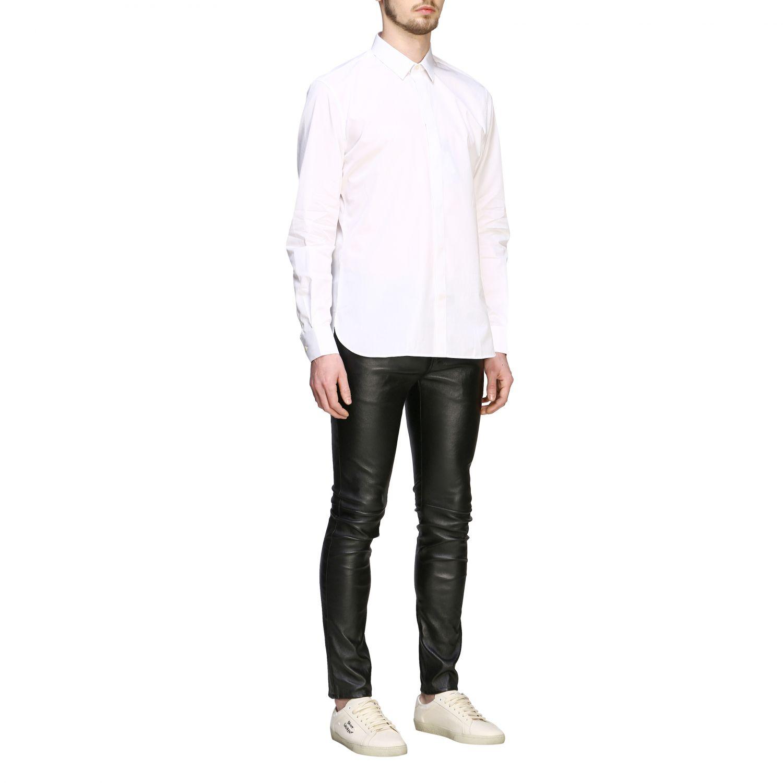 Chemise basique en popeline Saint Laurent à col italien blanc 2