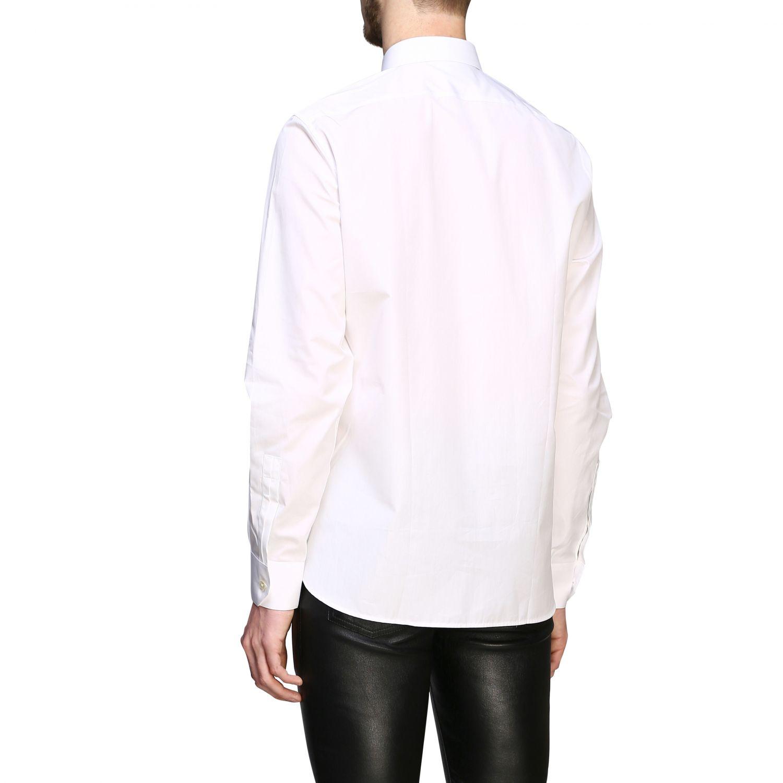 Chemise basique en popeline Saint Laurent à col italien blanc 3