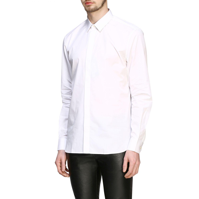 Chemise basique en popeline Saint Laurent à col italien blanc 4