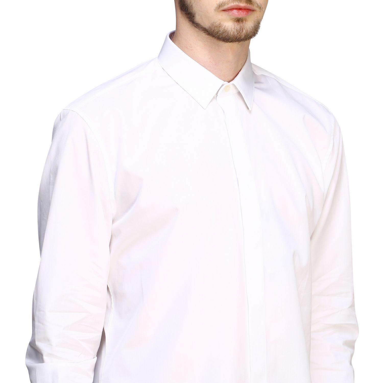 Chemise basique en popeline Saint Laurent à col italien blanc 5