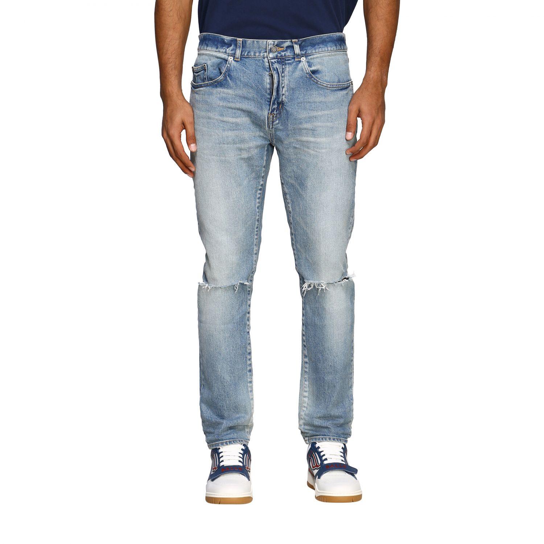 Jeans Saint Laurent skinny a vita media in denim stretch used denim 1