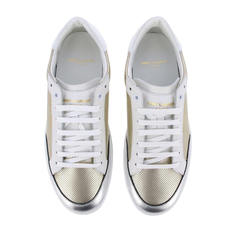 Niedrige Saint Laurent Sneakers aus laminiertem und perforiertem Leder gold 3