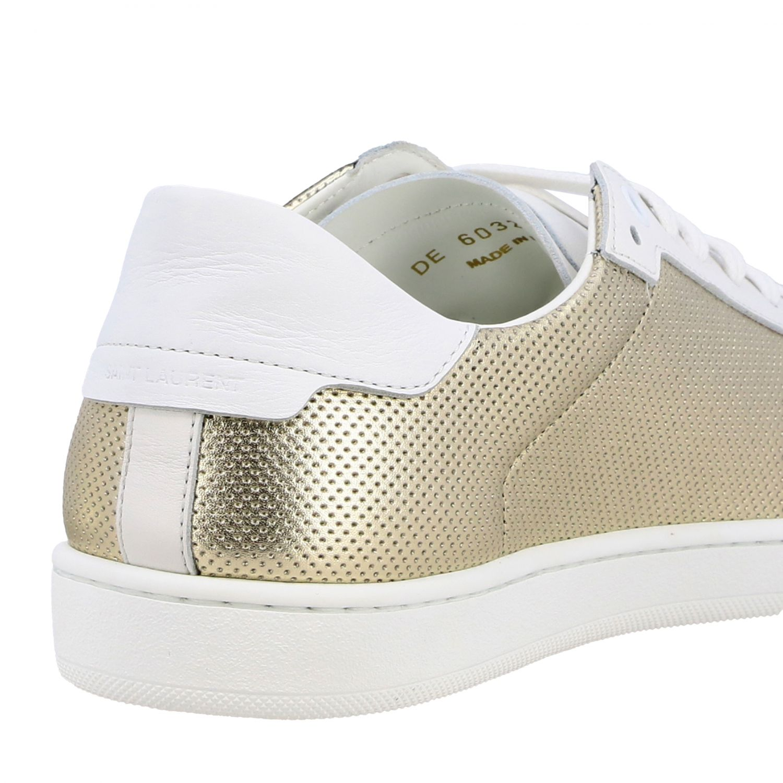 Niedrige Saint Laurent Sneakers aus laminiertem und perforiertem Leder gold 5