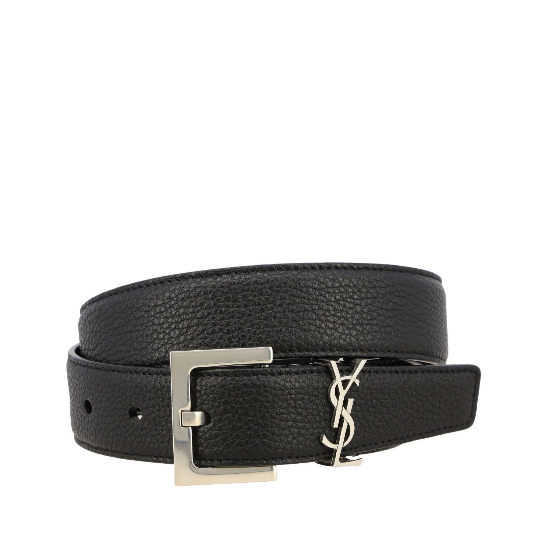 Cinturón clásico de Saint Laurent en cuero texturizado con monograma YSL negro 1