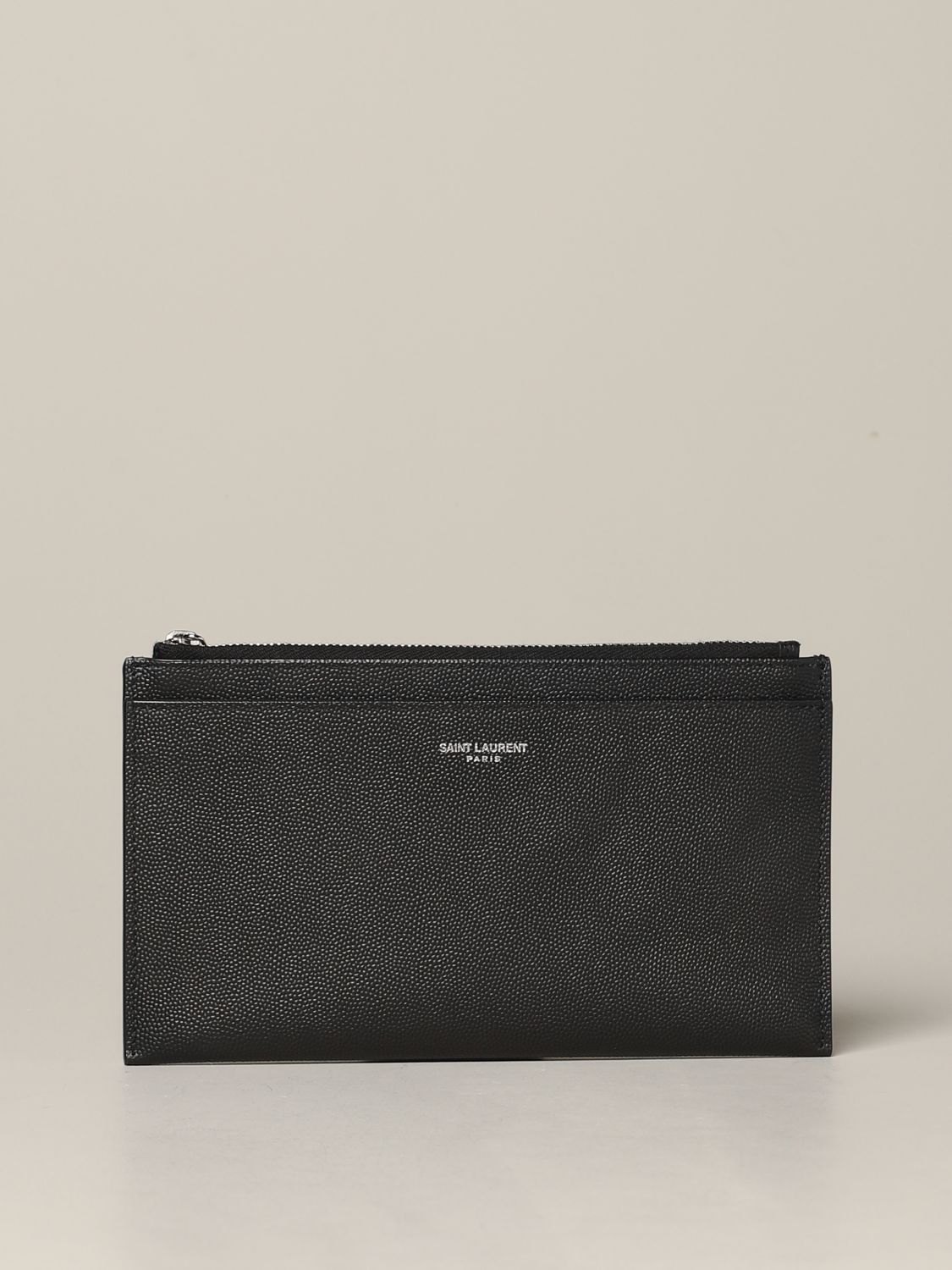 Mini Saint Laurent clutch in micro textured leather black 1
