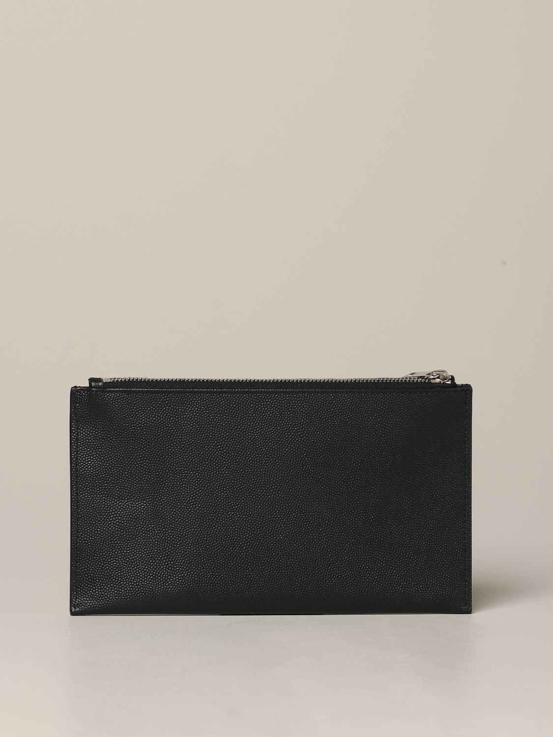 Mini Saint Laurent clutch in micro textured leather black 2