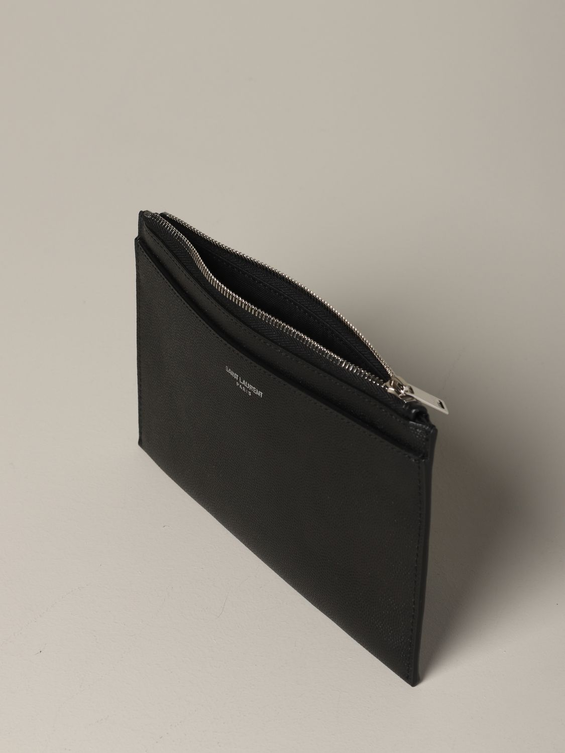 Mini Saint Laurent clutch in micro textured leather black 3