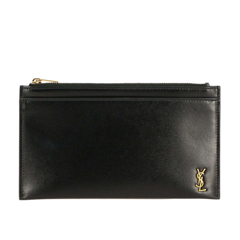 Pochette mini Saint Laurent in pelle con monogramma YSL nero 1