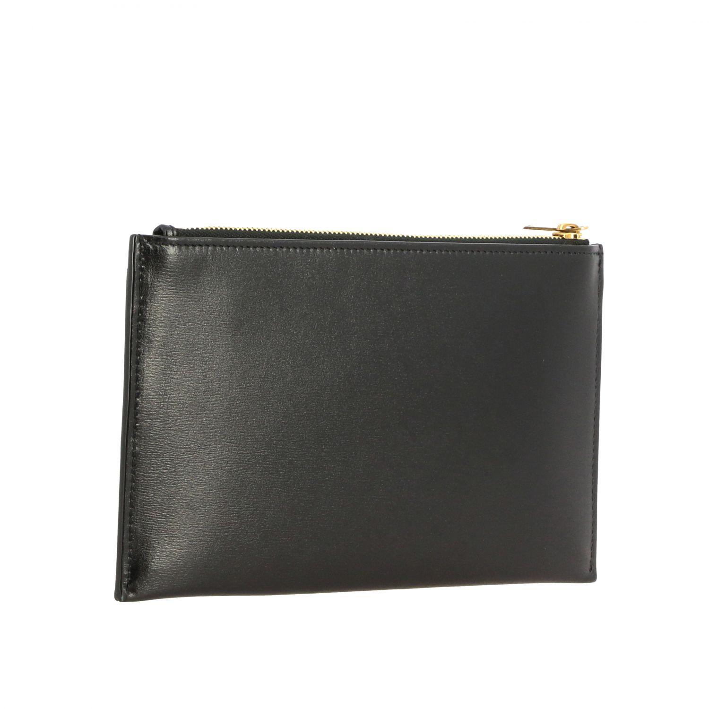 Pochette mini Saint Laurent in pelle con monogramma YSL nero 3