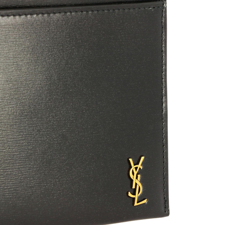 Pochette mini Saint Laurent in pelle con monogramma YSL nero 4