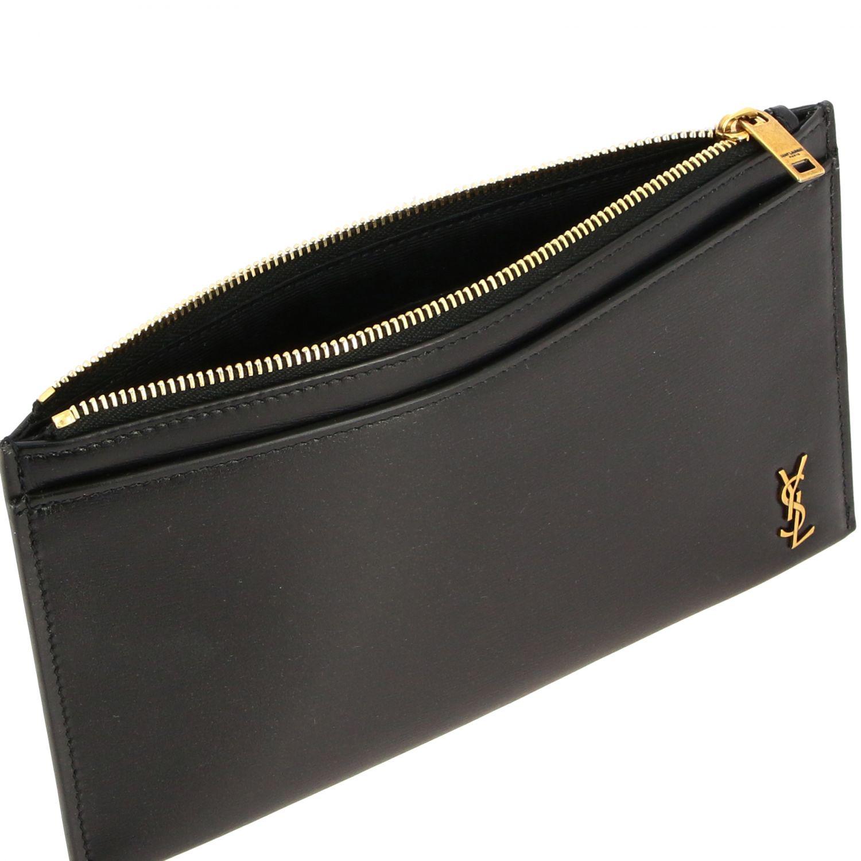 Pochette mini Saint Laurent in pelle con monogramma YSL nero 5