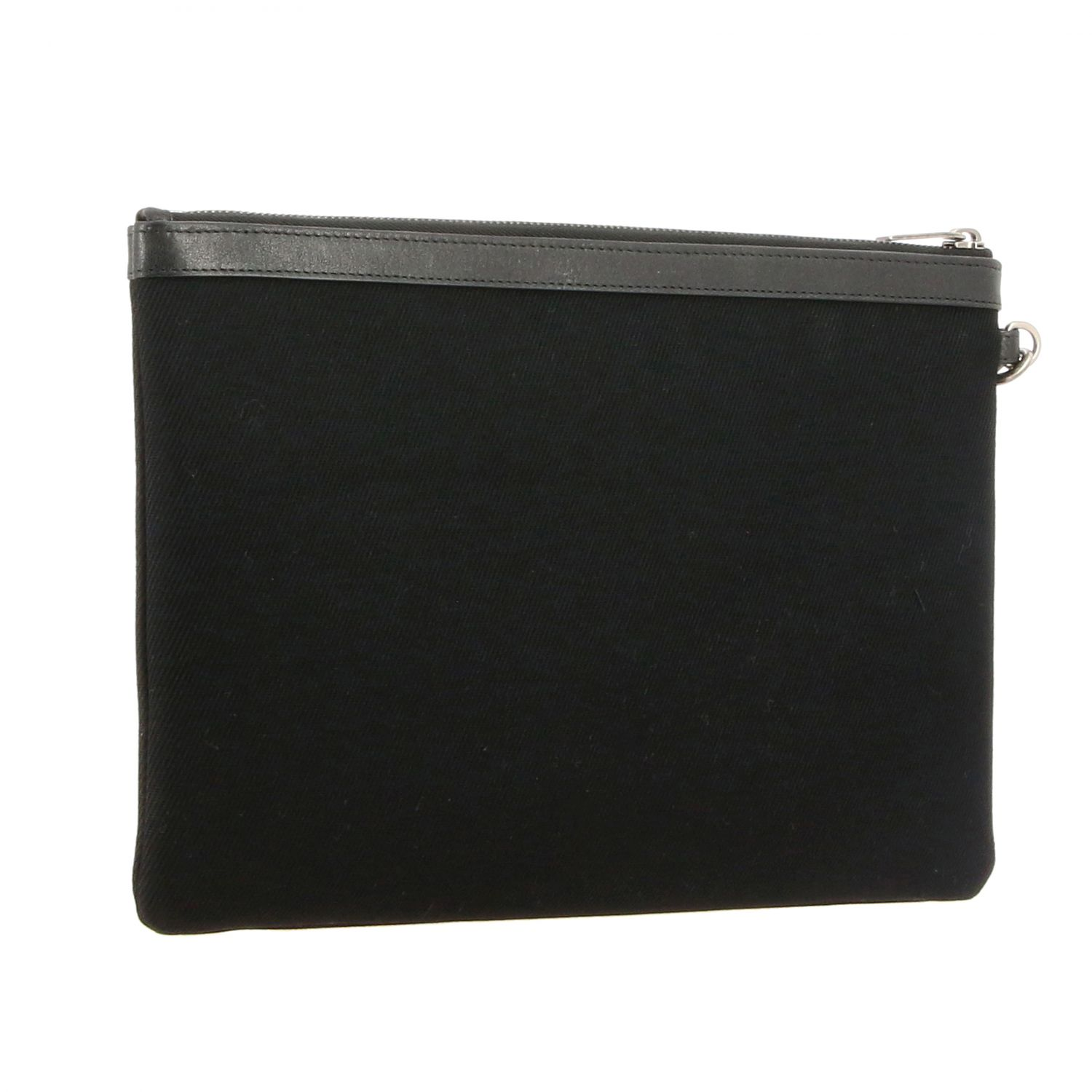 Pochette Saint Laurent in canvas con scritta Rive Gauche nero 3