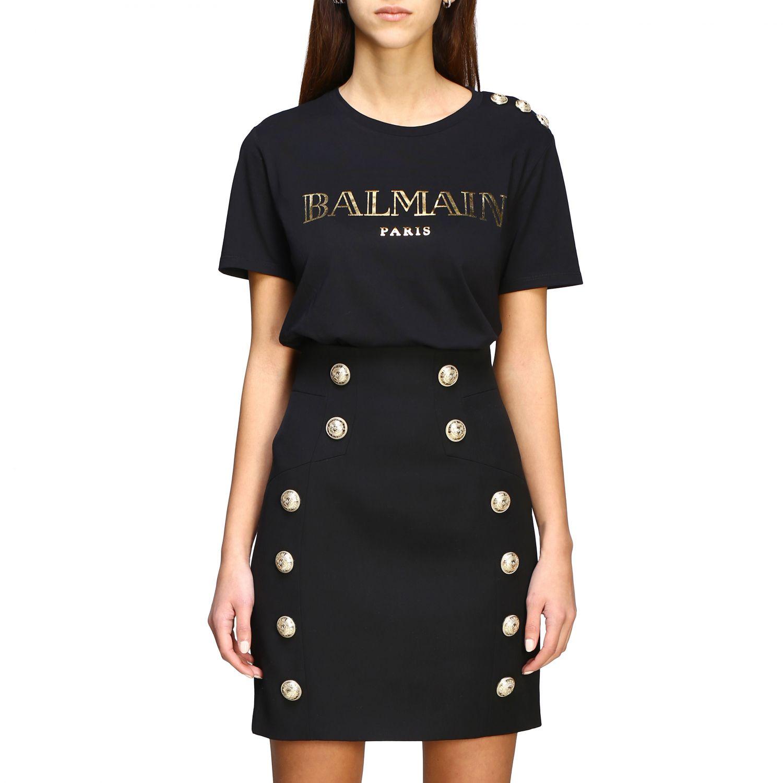 T-shirt Balmain con logo e bottoni gioiello nero 1 1