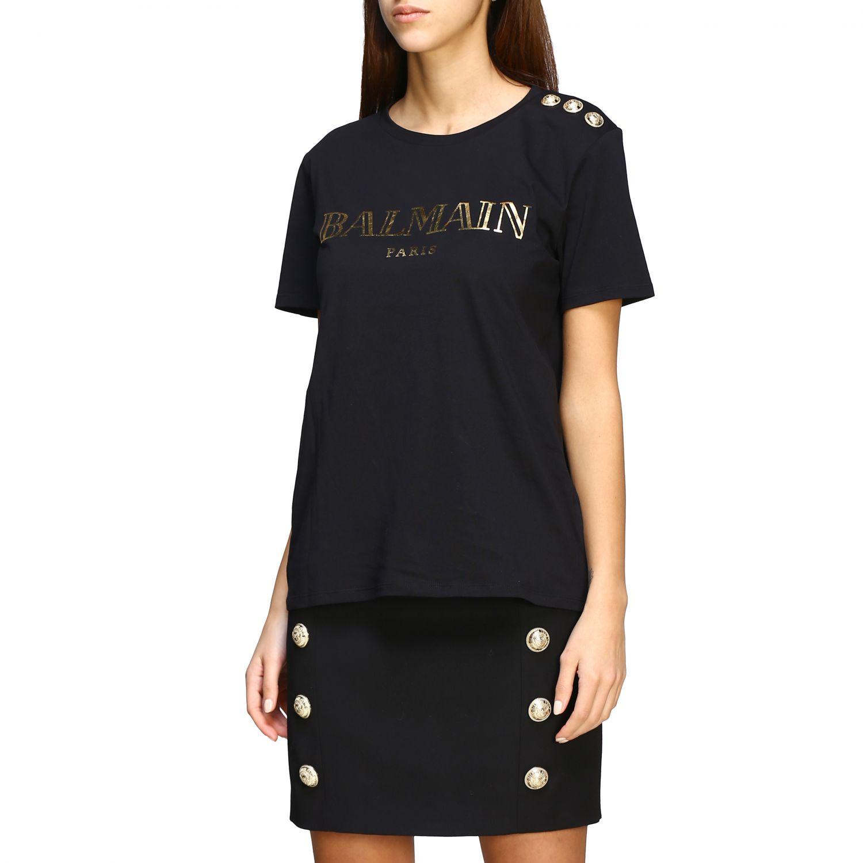 T-shirt Balmain con logo e bottoni gioiello nero 1 4