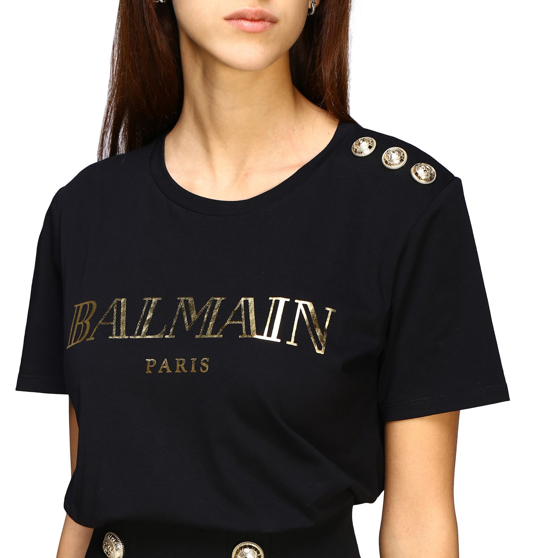 T-shirt Balmain con logo e bottoni gioiello nero 1 5