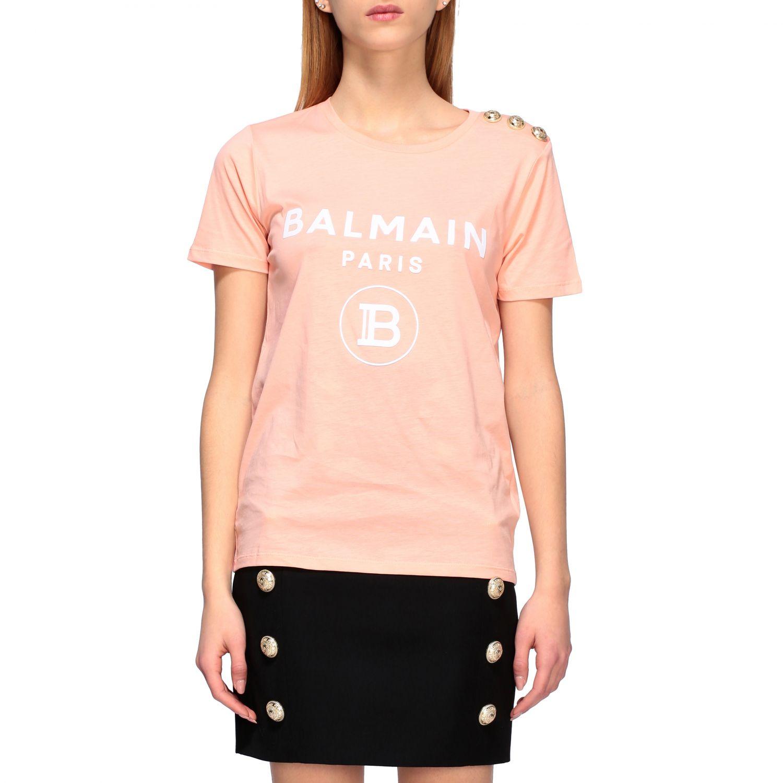 Balmain T-Shirt mit Schmuckknöpfen an der Schulter pink 1