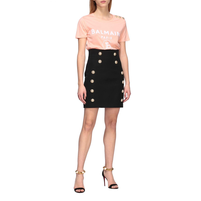 Balmain T-Shirt mit Schmuckknöpfen an der Schulter pink 2