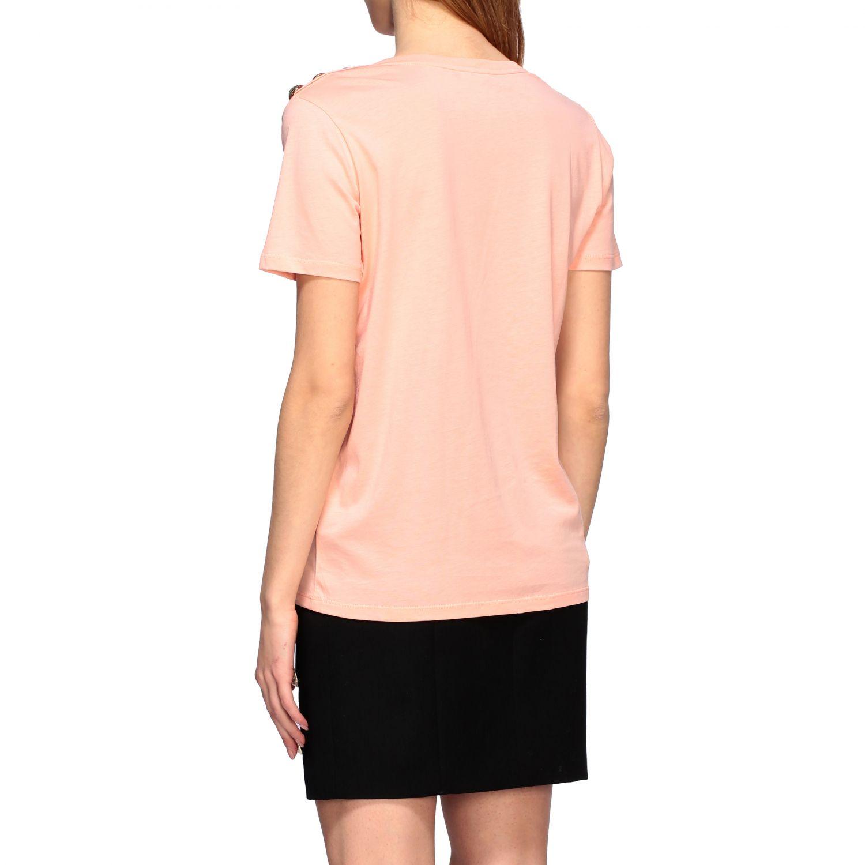 Balmain T-Shirt mit Schmuckknöpfen an der Schulter pink 3