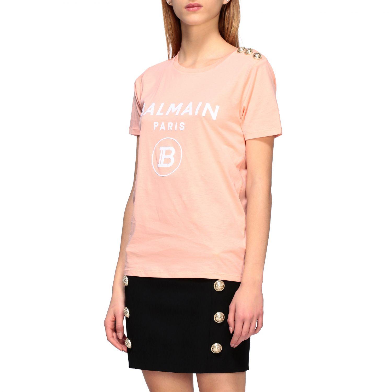 Balmain T-Shirt mit Schmuckknöpfen an der Schulter pink 4