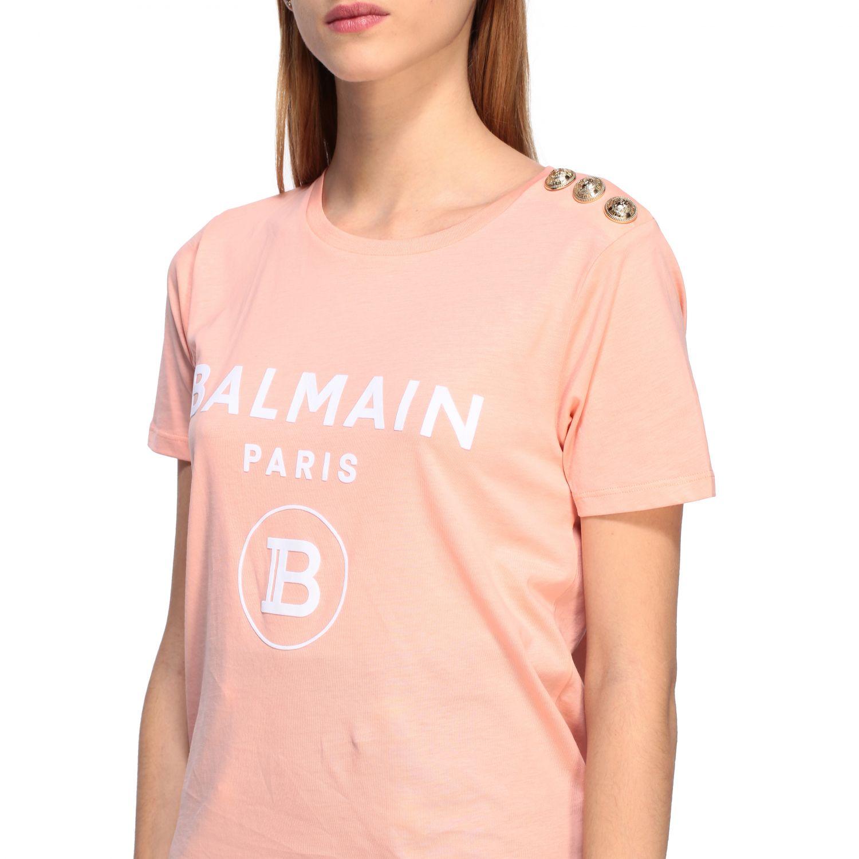 Balmain T-Shirt mit Schmuckknöpfen an der Schulter pink 5