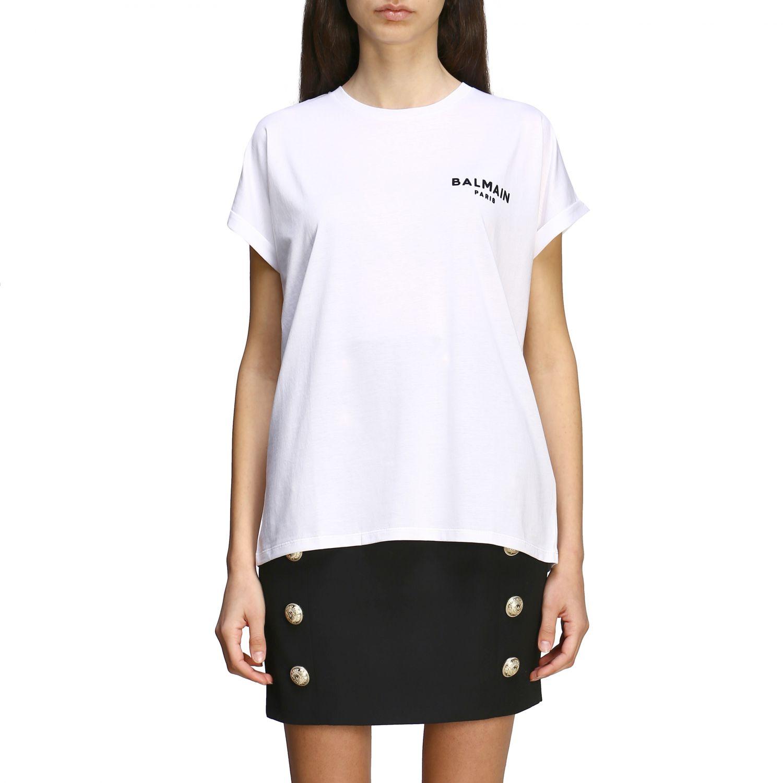 T-shirt Balmain a maniche corte con logo ricamato bianco 1