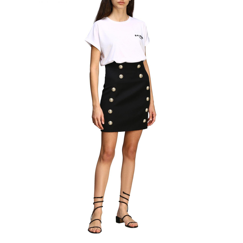 T-shirt Balmain a maniche corte con logo ricamato bianco 2