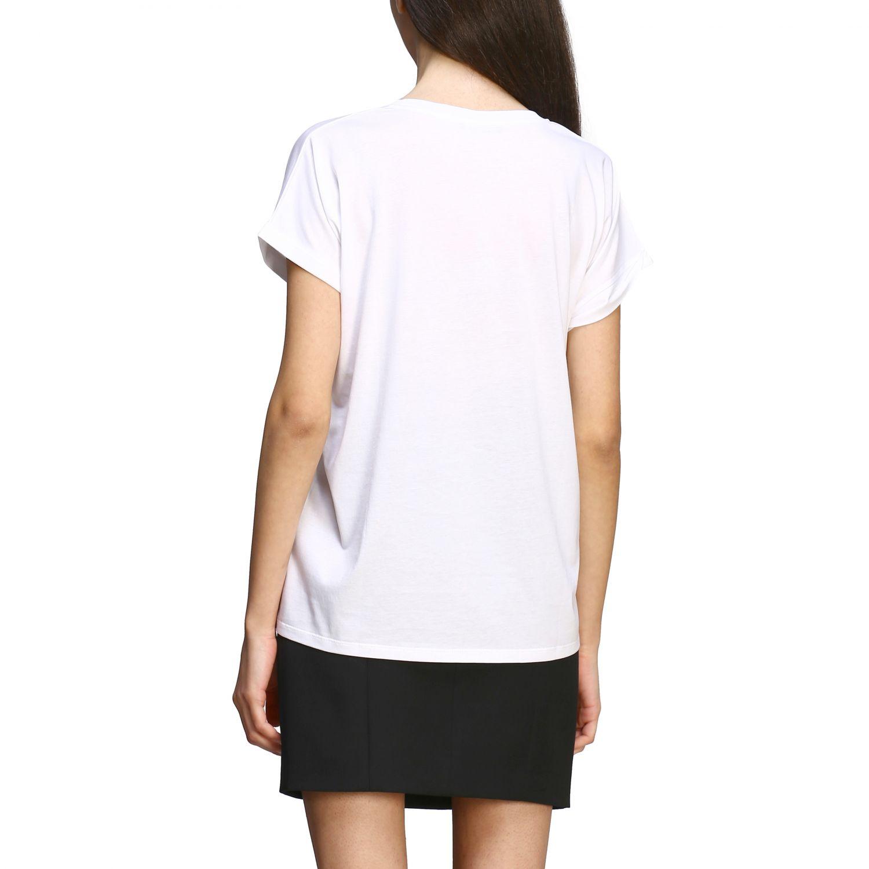 T-shirt Balmain a maniche corte con logo ricamato bianco 3