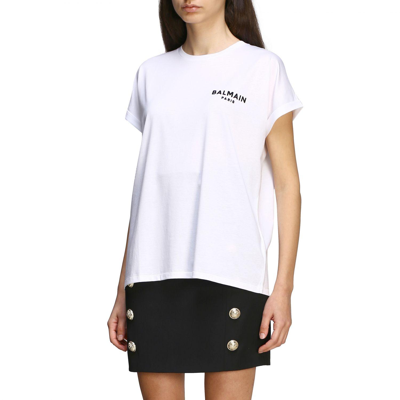 T-shirt Balmain a maniche corte con logo ricamato bianco 4