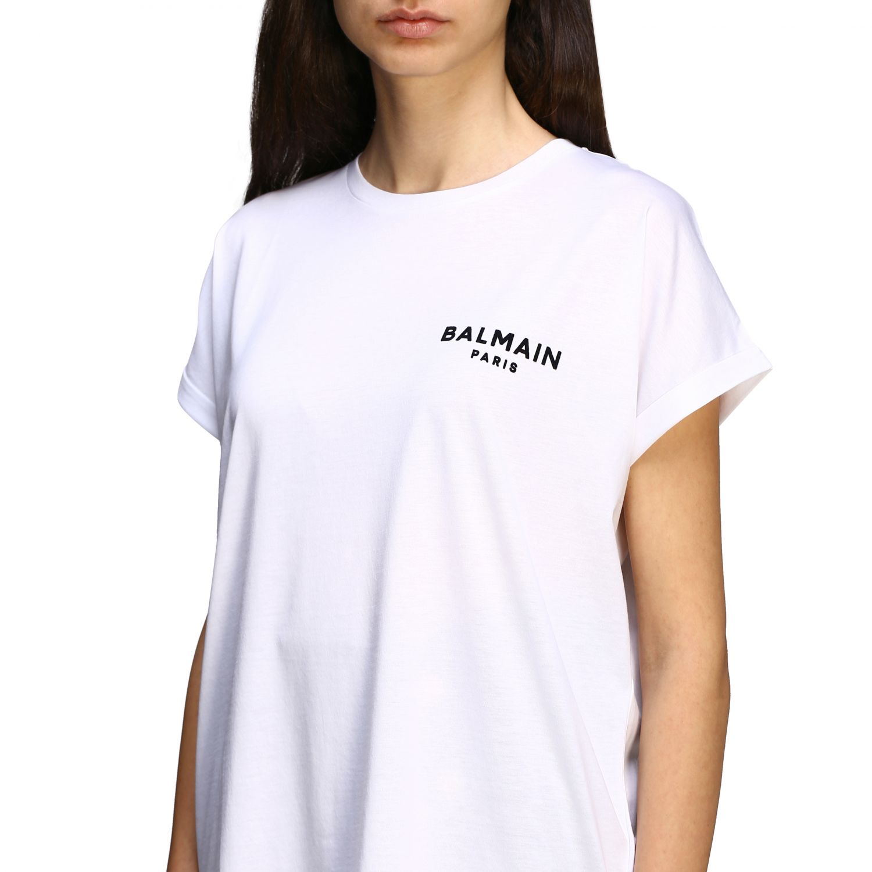 T-shirt Balmain a maniche corte con logo ricamato bianco 5