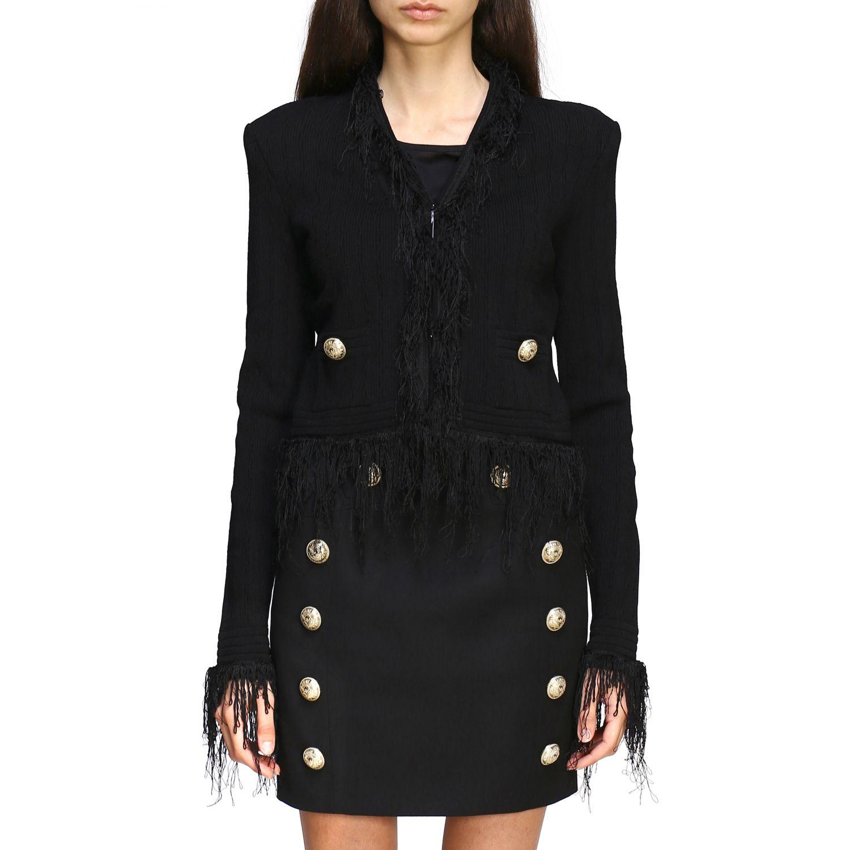 Balmain short-sleeved jacket with fringes black 1