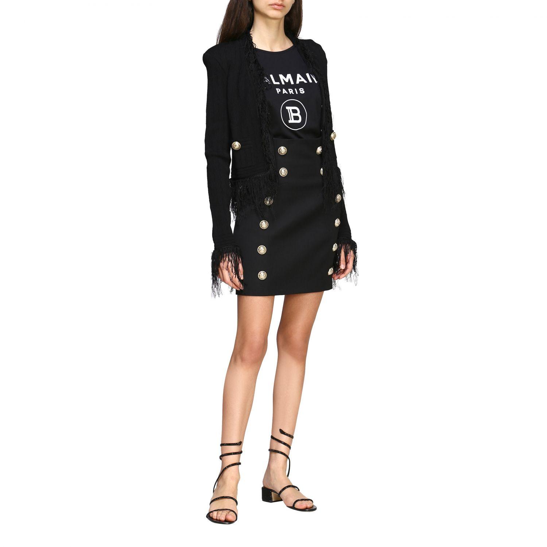 Balmain short-sleeved jacket with fringes black 2