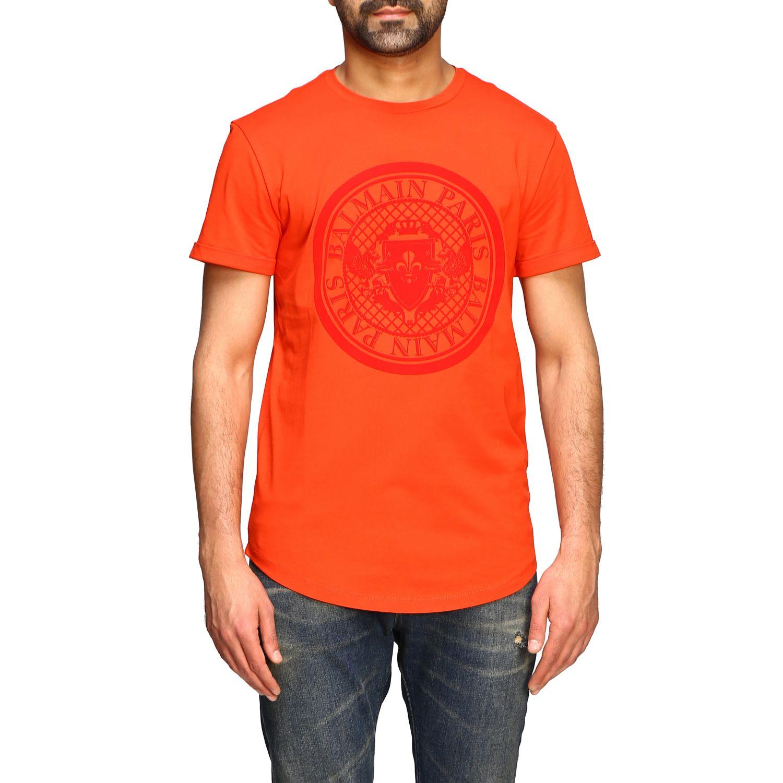 T-shirt Balmain: Balmain short-sleeved T-shirt with flocked crest red 1